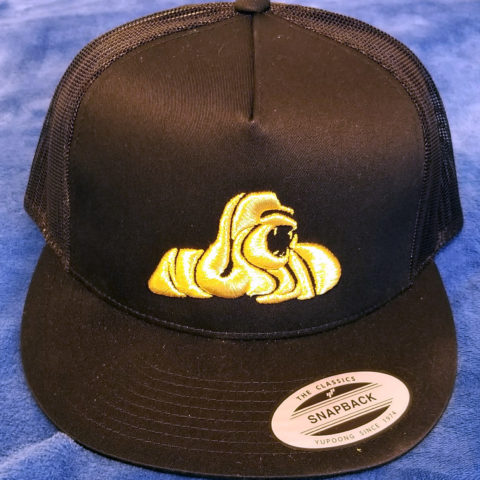 Nuwud Golden Gorilla Emblem Black Trucker Hat